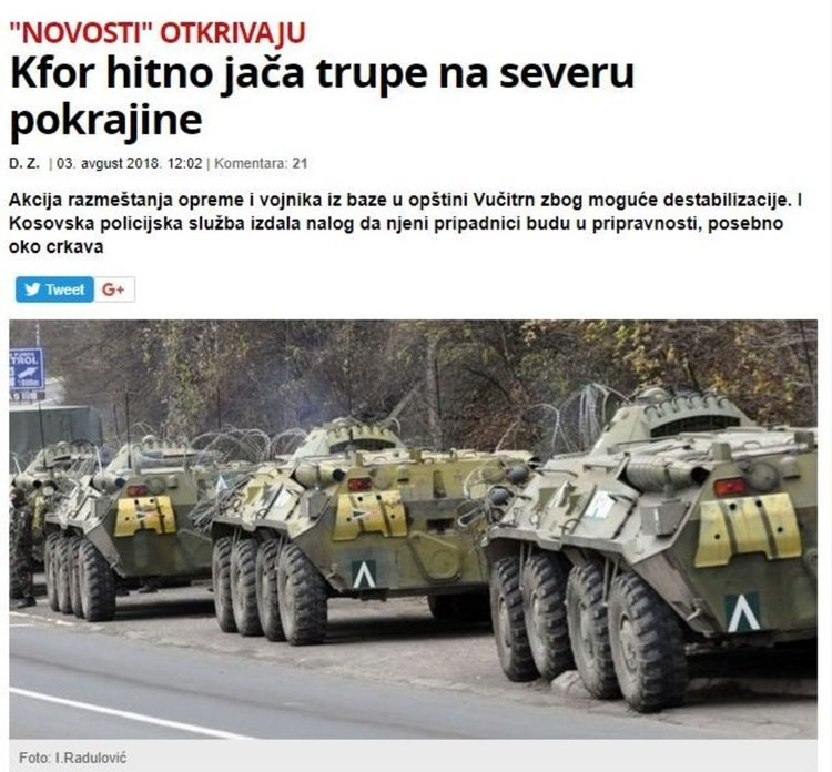 Сръбски медии:  НАТО прехвърля части в Северно Косово заради опасност от дестабилизиране