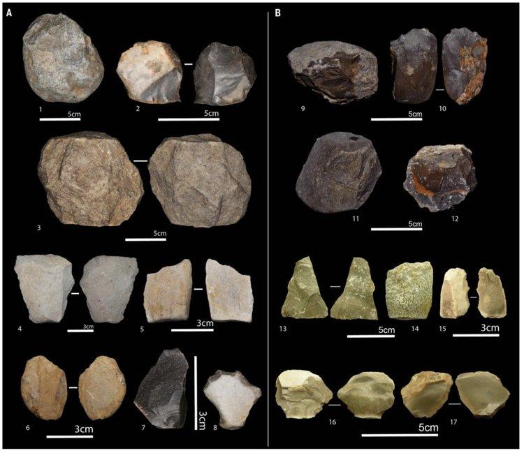 Някои от инструментите открити при разкопките в Айн Бушерит. Сн.: M. Sahnouni et al., 2018