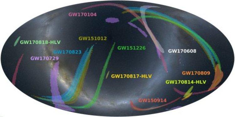 Местоположенията в небето на всички открити гравитационни вълни. Кредит: LIGO.