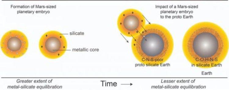 Вляво, диференциацията на меществата в протопланетата с размерите на Марс води до образуването на богато на сяра метално ядро и силикатна обвивка, където се изтласква и въглеродът. Вдясно, сблъсъкът на протопланетата с младата (бедна на C, N и S) Земя донася въглерод и други летливи елементи в нея.