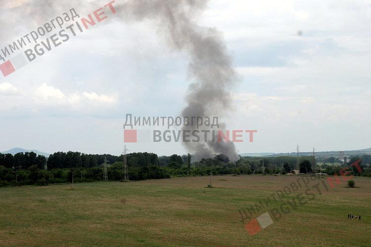 Пожар избухна до железния мост в Димитровград
