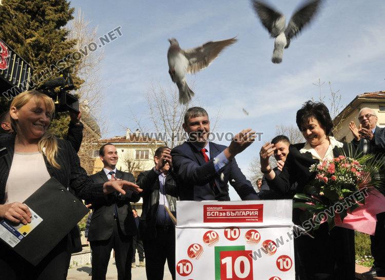 Корнелия Нинова в Хасково по време на предизборната кампания за НС през 2017 година