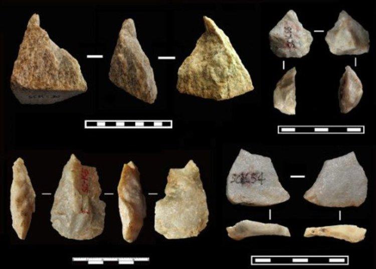Каменни инструменти, намерени в Льосовото плато в Шанчен. Снимка: Zhaoyu Zhu et al. / Nature, 2018