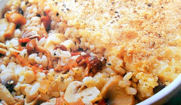 Гъби с ориз и яйца на фурна