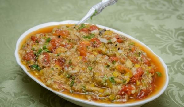 Пюре от патладжани, спанак и домати