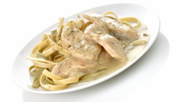 Спагети с пилешко филе и Грогонзола
