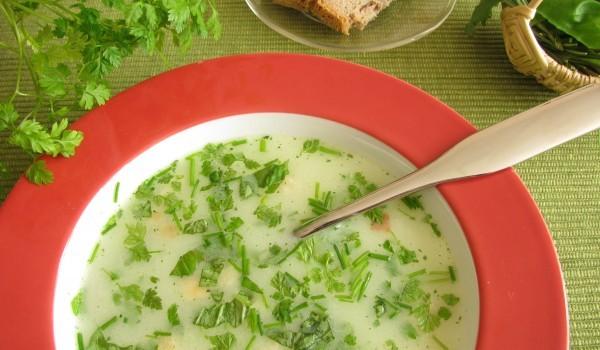 Супа със зелен лук и ориз