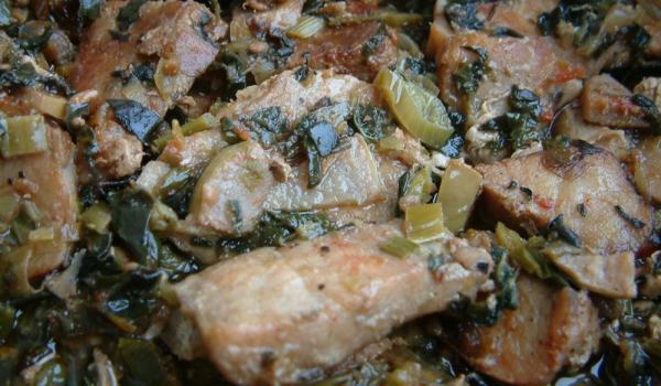 Свинско с манголд и мариновани дюли