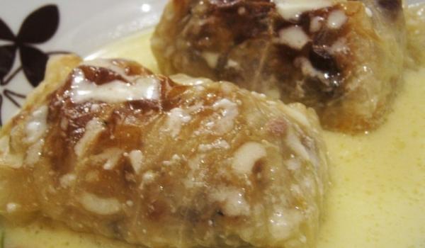 Сарми с кълцано месо в тава