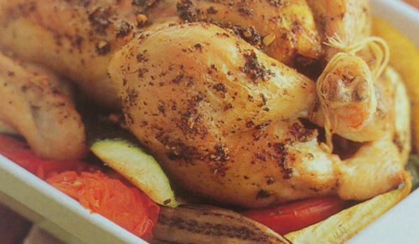 Печено пиле с песто и рататуй