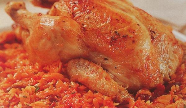 Печено пиле с орзо