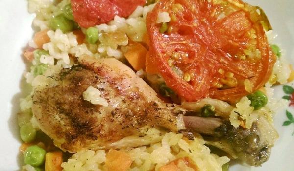 Пилешки бутчета с ориз и зеленчуци на фурна