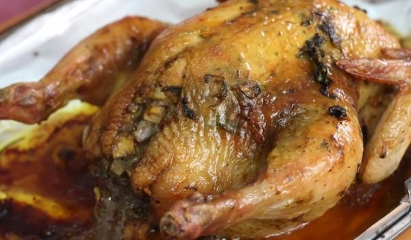 Пълнено пиле със спанак