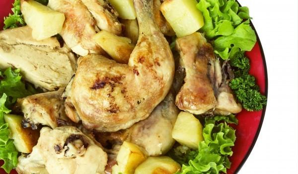 Пиле с картофи и карамелизирана захар