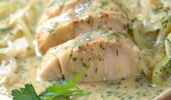 Рибно филе c бял сос и вино