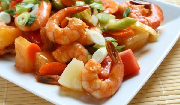 Скариди със зеленчуци