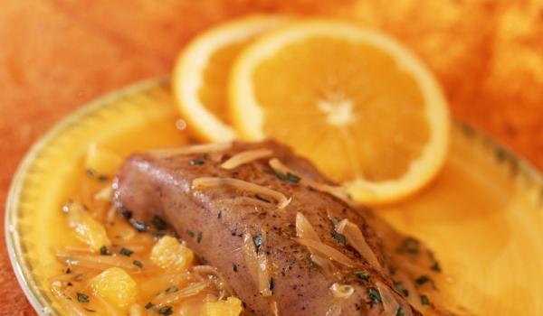 Телешки дроб с портокалов сок