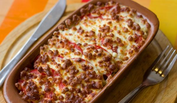 Телешки език с домати и сирене