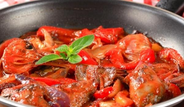 Задушен дроб с домати